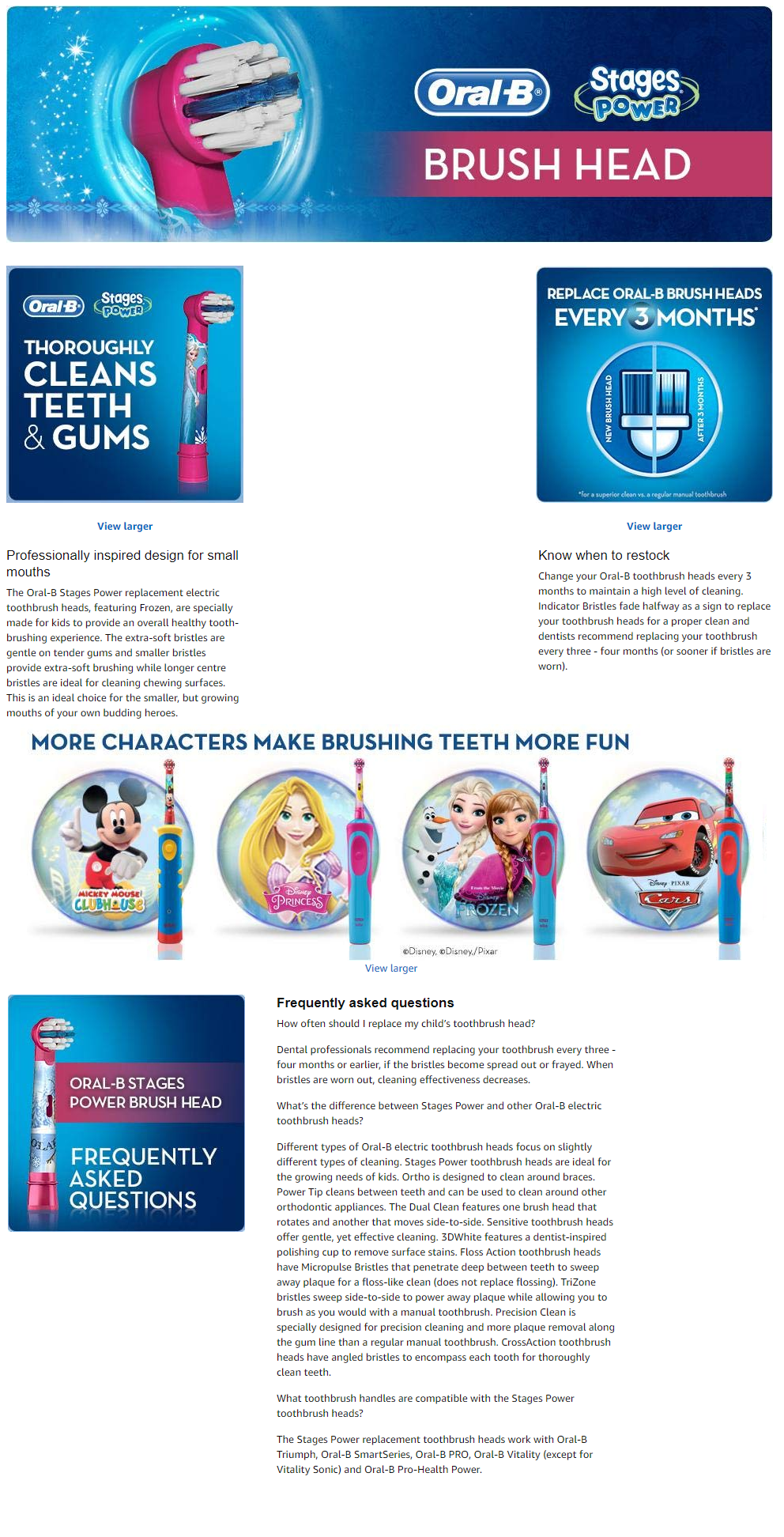 Oral-B stages Kids Brush head replacement 2 Frozen - 2 pack