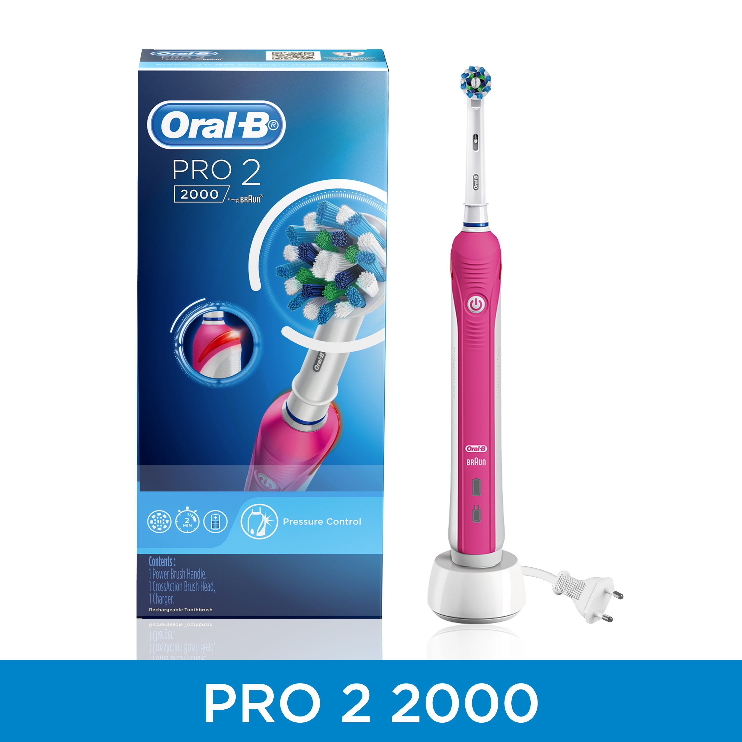 Oral-B PRO 2 2000 Pink Electric Rechargeable Toothbrush